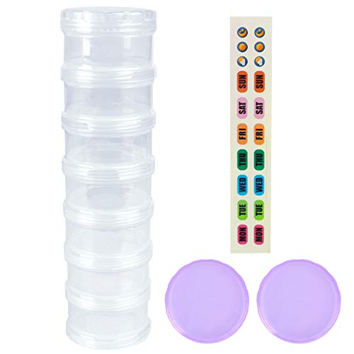 7 Day Pill Organizer Case Stackable Weekly Supplements Vitamins Pills Holder Dispenser Extra Large Clear Transparent with Label and 2 More Lids