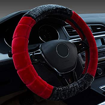 Fuzzy Car Steering Wheel Cover for Women Girls Ladies Universal Fit for 15 Inch Anti-Slip Fluffy Car Steering Wheel Cover for Winter Warm Odorless Furry Car Steering Wheel Cover (Grey Red Beige