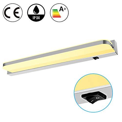 eSky24 9W LED Spiegelleuchte mit Schalter, Schminkleuchte Badezimmerleuchte Wandleuchte Aufbauleuchte, Warmweiß 42cm Länge