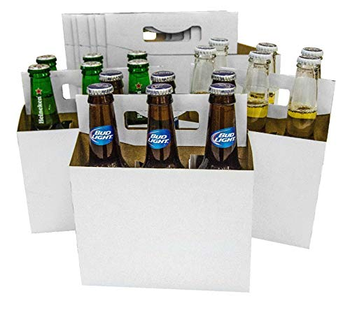 150 Six Pack Beer Bottle Holder that fits 12-16oz bottles Sturdy | Cardboard Holds Six Bottles | Beer Bottle Carrier for Safe and Easy Transport - (150 pcs White) FAST SAME DAY SHIPPING