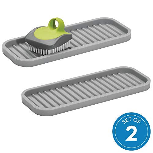 iDesign Lineo Kitchen Sponges, Scrubbers, and Soap, Sink Tray - Set of 2