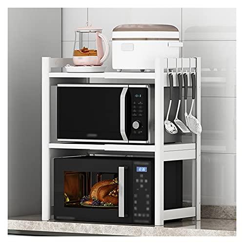 Estante para Microondas Extensión de horno de microondas ampliable Extensión horizontal Microondas Estante de microondas Soporte de cocina Contador de cocina Organizador 3 Nivel con 4 ganchos Rejilla