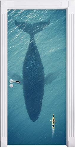 Preisvergleich Produktbild jdsjadjw Türaufkleber Wandaufkleber 3D Whale Wandaufkleber DIY Türabdeckung Küche Dekoration Zubehör Moderne 3D Wandaufkleber 77X200Cm