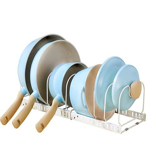 伸縮式 鍋ラック 収納ラック キッチンフライパンラック 七つ仕切り付き フライパン 食器 鍋蓋 お皿 まな板 鍋置き 引き出し用 シンク下用(白い)