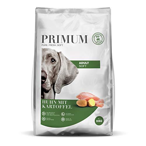 Primum| Soft Huhn mit Kartoffel | 5 kg | Halbfeuchtes Hundefutter | Getreidefreies Trockenfutter | Hoher Fleischanteil | Optimal verdaulich | Hypoallergen