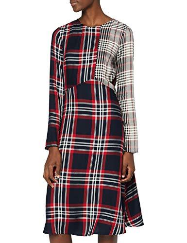 Marchio Amazon - find. Vestito Midi a Quadri Donna, Multicolore (Multicolour), 42, Label: S