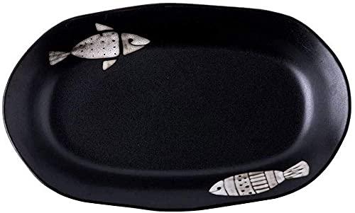 WBDZ Home Plato de Pescado de cerámica Grande y Creativo de 14.5 Pulgadas con patrón de pez, Plato Rectangular, Plato de Cena Negro, vajilla para 1 Persona, vajilla