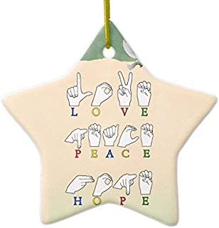 Delia32Agnes Love Peace Hope Fingerspelled ASL Sign Star Ceramic Christmas Ornaments Novelty Funny for Home Christmas Decorations and Gifts