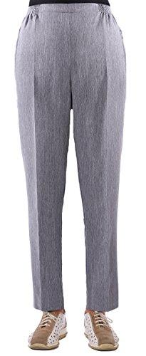 FASHION YOU WANT Damen Seniorenhose Schlupfhose mit Gummizug Kurzgröße ideal für pflegebedürftige Omas einfach anzuziehen und super pflegeleicht (44/46, grau meliert)