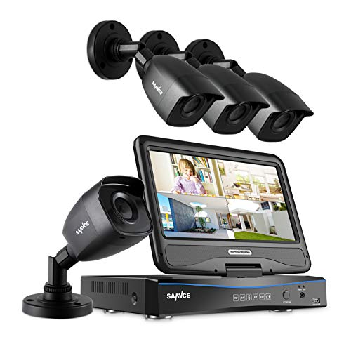 SANNCE Kit de Seguridad 4CH DVR con Monitor de 10.1 Pulgadas sin Disco Duro de Vigilancia + 4 cámaras de Videovigilancia 1080P Visión Nocturna IR-Cut IP66 Impermeable-sin HDD