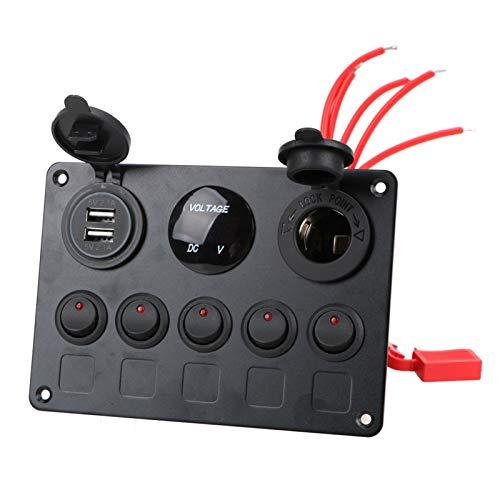 JIAQING Coche Marino LED Rocker Interruptor Panel Impermeable Voltímetro Digital Voltímetro Dual Puerto USB Puerto 12V Combinación de Salida (Color : 5 Gang Red)