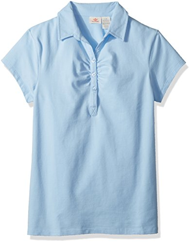 Dockers Big Girls' Uniform Short Sleeve Stretch Jersey Polo with Shirring, White, L (12/14)
