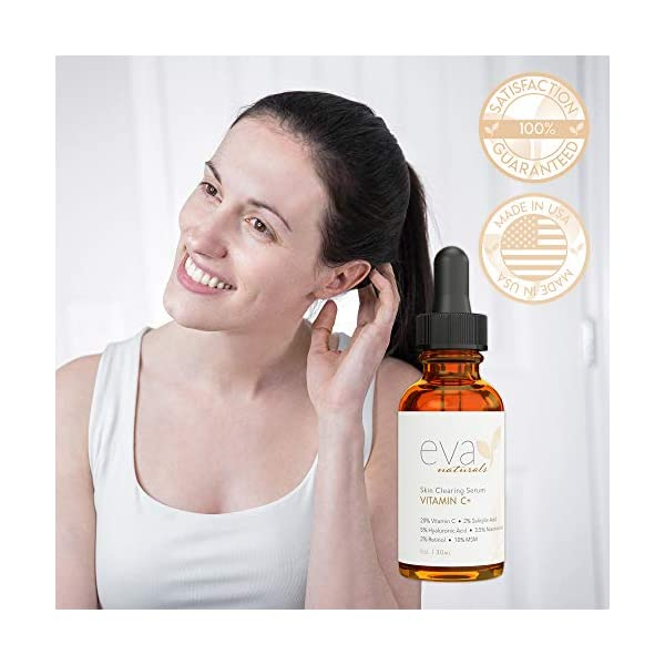 Acne treatment products Eva Naturals Vitamin C Serum Plus 2% Retinol, 3.5% Niacinamide, 5% Hyaluronic Acid,