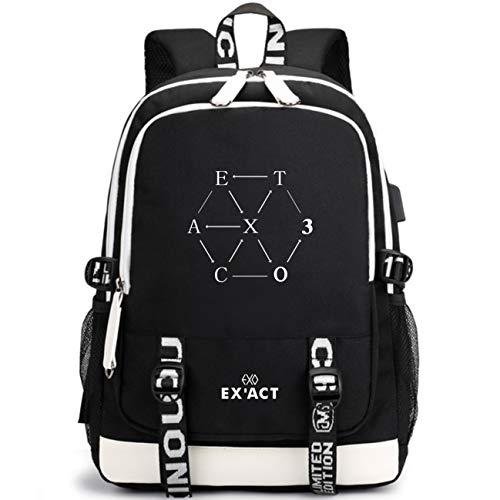 Kpop EXO Rucksack Student Daypack Schultasche Geschenkwaren Laptoptasche College Bookbag Reise Schule Oxford Bags Mit USB-Ladeanschluss Sehun Suho Baekhyun Chanyeol Xiumin D.O Kai Chen Lay