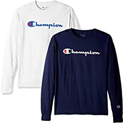 SAVE on 2 pack bundle of Champion T Shirts for Men and free Be Bold gym tote bag Easy Care- Machine Wash and Dry Signature Champion Script Logo across chest and C patch on sleeve Ring-spun cotton fabric for extra softness Athletic fit for comfort whi...