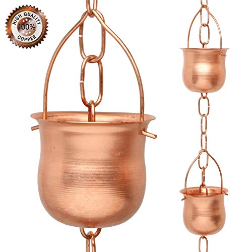 Marrgon Copper Rain Chain – Decorative Chimes & Cups Replace Gutter Downspout & Divert Water Away from Home for Stunning Fountain Display – 8.5' Long for Universal Fit – Pot Style (Renewed)
