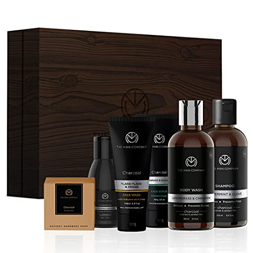 The Man Company Charcoal Grooming Kit By The Man Company (Body Wash, Shampoo, Face Scrub, Face Wash, Cleansing Gel, Soap Bar) Set of 6 | Made in India