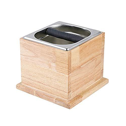 "TINTON LIFE Espresso Knock Box Stainless Coffee Grind Knock Box Espresso Dump Bin Solid Wood Base Durable(6.69 x 7.91 x 7.91"")"