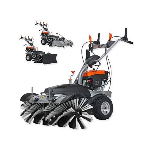 FUXTEC Benzin Kehrmaschine FX-KM1196 mit Kehrbesen und 173cc Hubraum inklusive Schneeschieber und Kehrgutsammelbehälter/Auffangbehälter