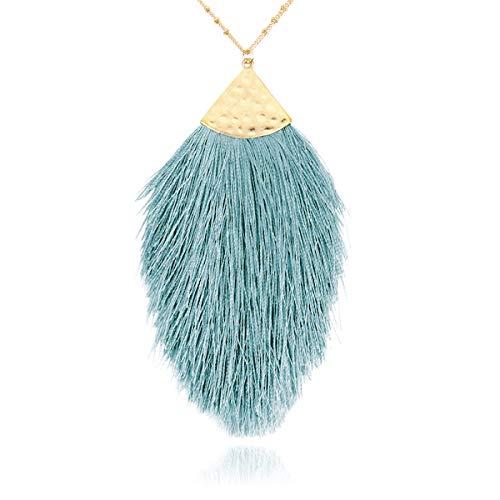 RIAH FASHION Antique Bohemian Silky Thread Fan Tassel Statement Necklace - Vintage Gold Feather Shape Strand Fringe Lightweight Long Chain (Feather Fringe - Aqua Mint)