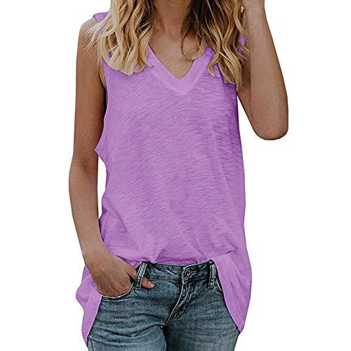 Damen Weste ÄRmelloses T-Shirt Mit V-Ausschnitt Sommer LäSsiges Lockeres Langes Kleid