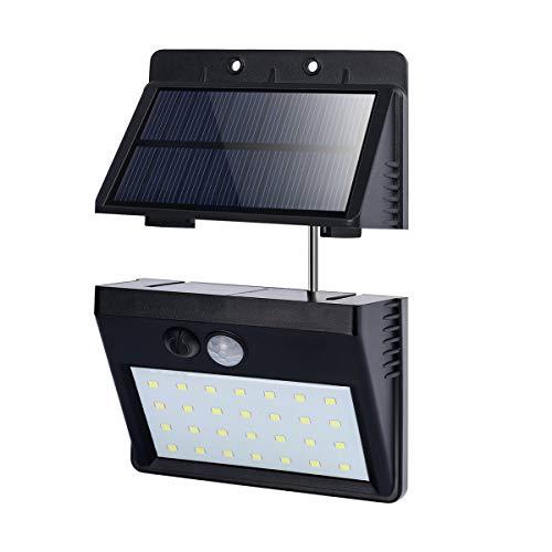 T-SUN Foco Solar Exterior, Luz de Pared al Aire Libre de 28 LED, Luces Solares con Sensor de Movimiento, Gran Ángulo 120°, Luces Solares de Seguridad con 3 modos inteligentes, 6000K.(Pack de 1)