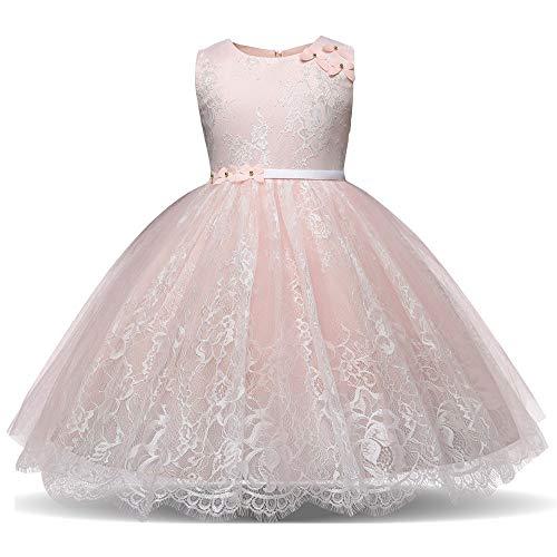 Zarupeng Mädchen Spitzenkleid Ärmellos Prinzessin Kleid, Baby Kinder Tutu Tüll Kleid Faltenrock Formal Party Brautjungfer Hochzeitskleid