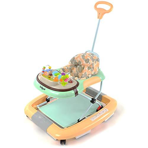 Daliya BEBISTEP 4in1 Spiel- und Lauflernwagen - Babywalker - Babywippe mit Musik- & Spielecenter & Esstisch - Farbe Gelb-Türkis
