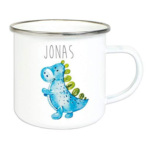 Emaillebecher für Kinder mit Wunschname Bedruckt/Tasse im Vintage Design mit Motiv und Namensdruck/Tasse 8 cm Höhe 300 ml Füllmenge (Dino)