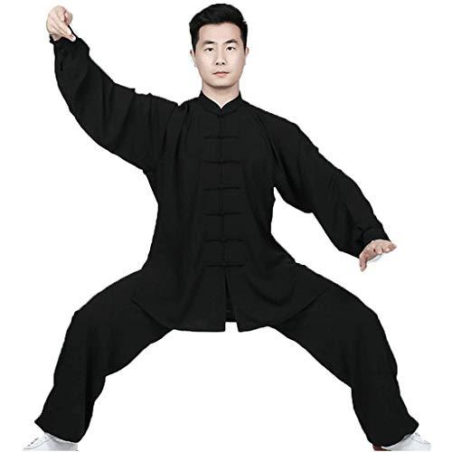 Tuta da Meditazione Tai Chi Uniforme Tai Chi Kung Fu Uniforme Abbigliamento Tai Chi Abito da Meditazion Qigong Wing Chun Shaolin Wushu Divisa da Allenamento Unisex Black,XXX large
