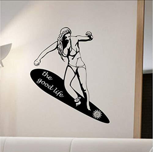 Zlxzlx Het Goede Leven Meisje Draag Bikini Surfing Muurstickers Slaapkamer Vinyl Lijm Hawaii Muurstickers H Decoraties Woonkamer 56 * 71Cm
