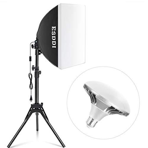 ESDDI Softbox LED Kit Luz de Iluminación Fotografía con 450W 5400K LED Bombilla E27 y Reflector de 40 x 40cm para Disparar