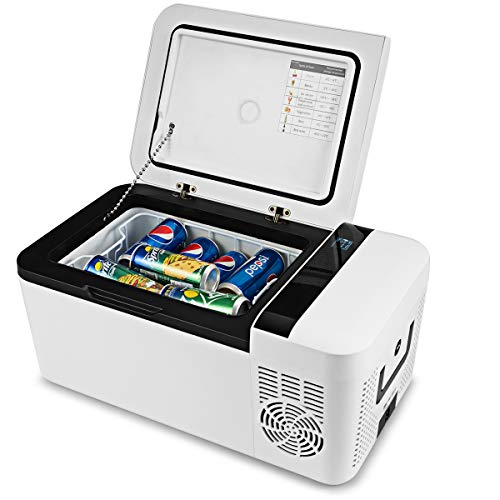 COSTWAY Compact Car Freezer, Portable Travel 12V Fridge, with Compressor, Double Handles, LCD Display Screen for Car and Home, Camping, Truck Party, Travel, Picnic Outdoor (16 Quart)