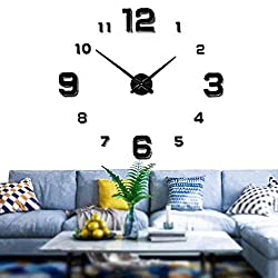 Mintime Modern Frameless DIY Wall Clock Large 3D Wall Watch Mirror Numbers for Home Office Decorations (Black-005)