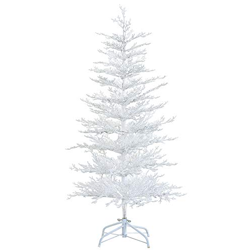 LordofXMAS Flocked Twig 5 ft. White Artificial Christmas Tree PE Snowy Pine with LED String Lighting 100 Blue Light Bulbs 34 in. Width 195 Branch Tips