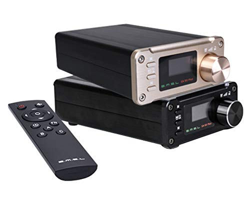 SMSL SA-50 Plus 50WX2 - Amplificatore HiFi DAC/Music Player con telecomando, amplificatore digitale TAS5766M, display OLED, lettore USB/SD, jack AUX/Optical da 3,5 mm, Full Digital