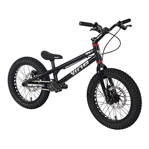 LJLYL 16 Zoll Street Trials Bike Komplettes Trial Bike für Kinder, Rahmen und Gabel aus Aluminiumlegierung TP16 I, doppeltwirkende Scheibenbremse WINZIP,Schwarz