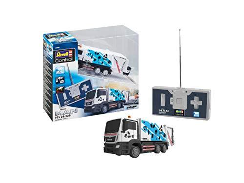 Revell Control 23486 Mini RC Car Man Müllwagen, 40 MHz Fernsteuerung mit Ladefunktion ferngesteuertes Auto, 10cm