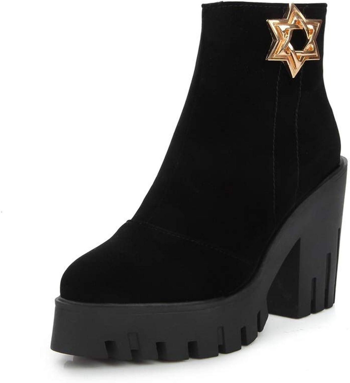 AN Womens Chunky Heels Platform Zipper Imitated Suede Boots DKU02257