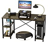 Engriy Computer Desk with Shelves, 55 inch Writing Study Desk for Home Office with Drawer and Monitor Stand, Multipurpose Modern Wood Metal Desk Workstation for PC Laptop, Walnut Black