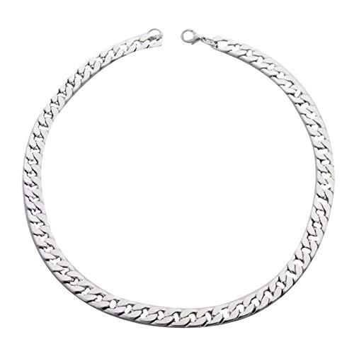 FOReverweihuajz Collar de plata de ley 925 para hombre – Simple Twist oblato cadena ancha collar de clavícula cadena de fiesta joyería regalo de cumpleaños plata 50 cm