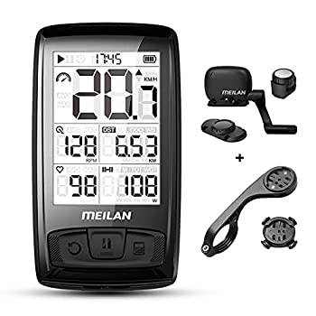 MEILAN Blade Wireless Bike Computer Cycling Computer with Backlight Speed Cadence Sensor Included Bluetooth ANT+ 80 Hours Battery 2.5in Screen Bicycle Computer Road Bike Waterproof M4