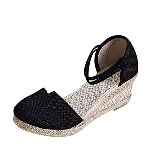 Women's Espadrille Closed Toe Ankle Strap Sandals Heeled Boho Platform Wedge Lace Up Summer Sandal for Women Casual Dressy