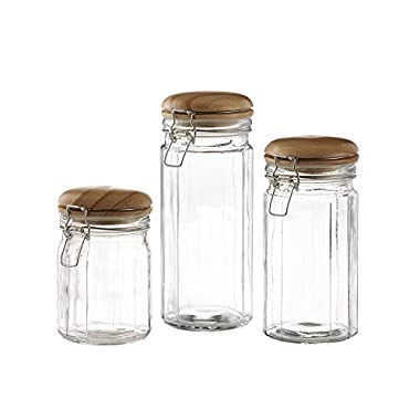 Style Setter 203202-GB Glass Canister Set (3 Piece), Clear