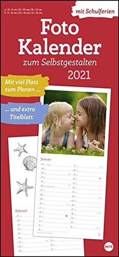Fotokalender 2021 zum Selbstgestalten - Bastelkalender mit Monatskalendarium, Titelblatt zum Selbstgestalten, viel Platz für Notizen und mit Schulferien - Format 21 x 45 cm