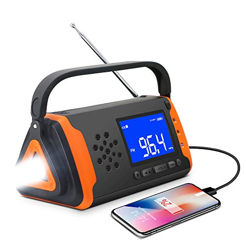 Wind Up Solar Radio,Emergency Radio Hand Crank Phone Charger...