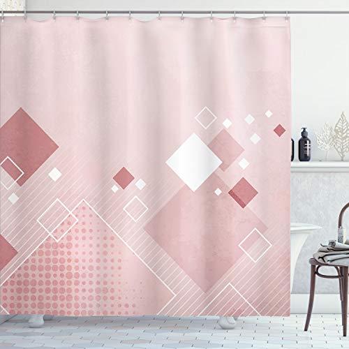 Ambesonne Cortina de ducha abstracta, composición geométrica, cuadrados de diferentes colores, rombos de lunares, tela de tela para decoración de baño con ganchos, 190,5 cm de largo, rosa pálida