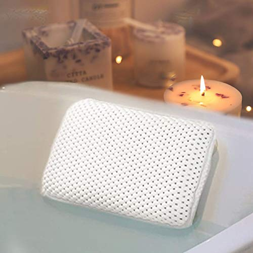 HANKEY Bathtub Pillow, Bath Pillow Bath and Spa Head Rest with Suction Cups Bath Cushion Bathing Pillow