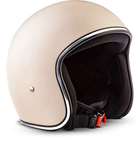 "Rebel · R2 ""Creme"" (Gelb) · Jet-Helm · Motorrad-Helm Roller Chopper Retro Mofa Scooter-Helm · Fiberglass · Extra small Shell · Click-n-Secure™ Clip · Tragetasche · M (57-58cm)"
