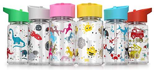 Be-Active Botella de Agua Niños y Niñas – 450ml Sin Fugas - Niños Botellas Agua- Sin BPA - Botella de Agua Pajita para Infantil - Reutilizable - Colegio Deporte , gris